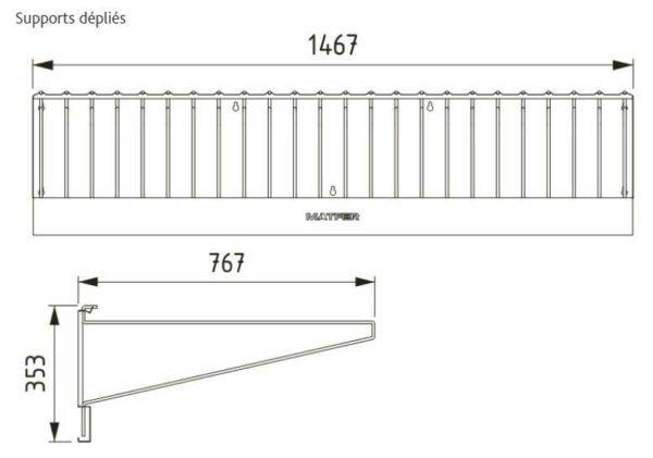 Dessin technique du séchoir pour toiles à couches MATFER - réf 845025