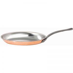 """Poêle ovale à poisson en cuivre intérieur inox gamme """"Alliance"""" Matfer Bourgeat"""