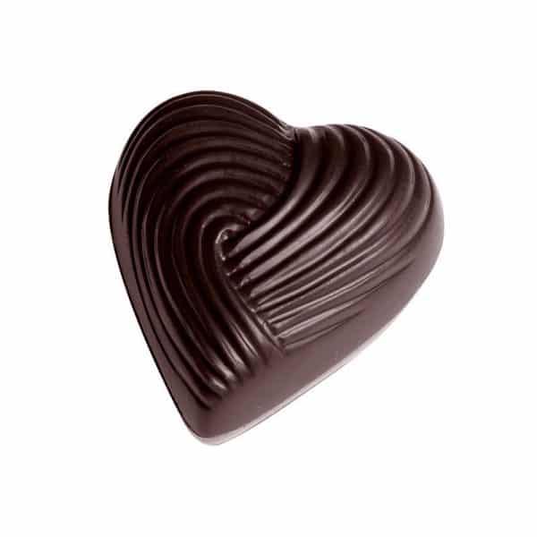 Moule à chocolat-Bonbons Cœur Strié - Matfer 380145