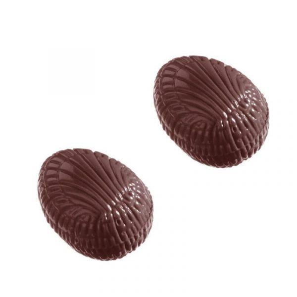 Moule chocolat de Pâques - Bonbons Demi-Oeufs striés - matfer 380118