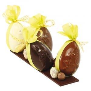 """Moule à chocolats de Pâques pour 6 demi-coquilles décorées """"Lapin"""" - Matfer 380224"""