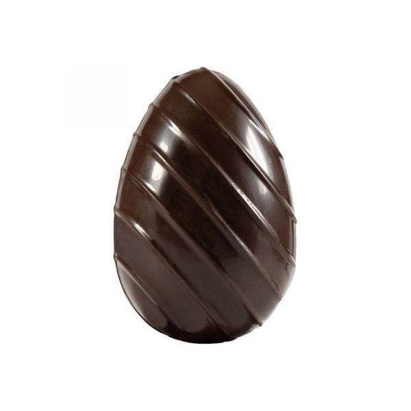 Moule à chocolat de Pâques - Œuf strié diagonales - Matfer 382116